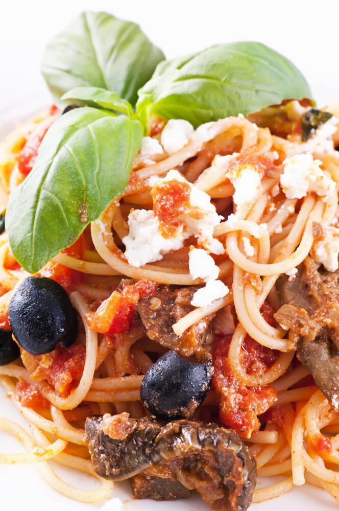 Spaghetti chèvre et olives